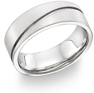 wave design wedding band 14k white gold