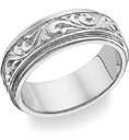18K White Gold Paisley Design Wedding Band Ring