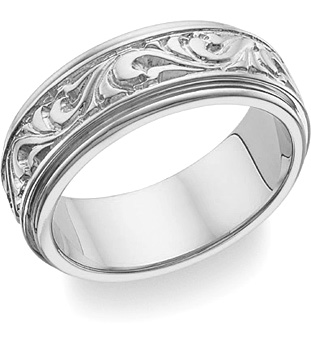 Paisley Design Wedding Band, 14K White Gold