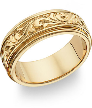 Paisley Design Wedding Band, 14K Gold