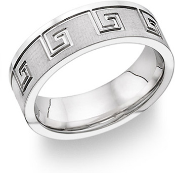 Greek Key Design Wedding Band, 14K White Gold