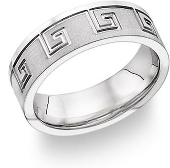 Greek Key Design Wedding Band 14k White Gold