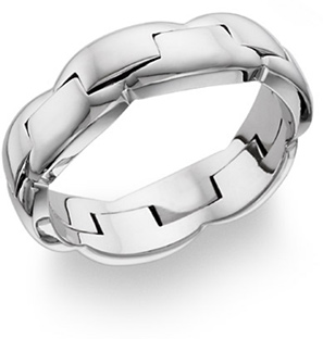 18K White Gold Two-Halves Wedding Band Ring