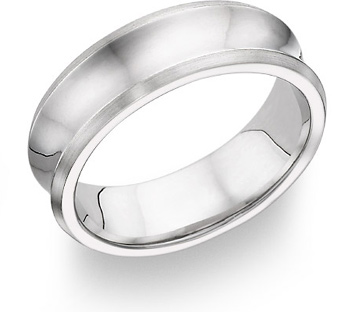 14K White Gold Concave Wedding Band