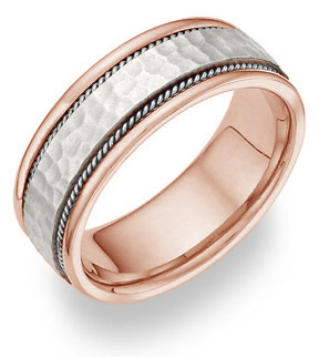 18K Rose Gold & White Gold Hammered Wedding Band