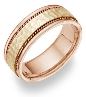 Jewelry-Two Tone Hammered Wedding Band Ring 14K Gold