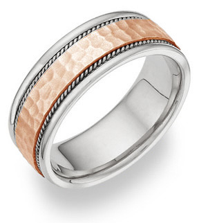 14K White Gold and Rose Gold Brushed Hammered Wedding Band