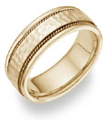 18K Yellow Gold Hammered Brushed Wedding Band