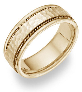 14K Yellow Gold Hammered Wedding Band Ring (Wedding Rings, Apples of Gold)