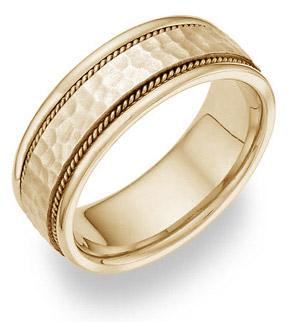 18K Yellow Gold Hammered Brushed Wedding Band