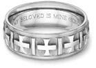Ancient Cross Wedding Band Ring in 14K White Gold