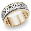 Caedmon Celtic Wedding Band, 14K Two-Tone Gold