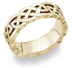 Celtic Knot Wedding Band 14K Yellow Gold