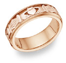 Celtic Claddagh Wedding Band Ring - 14K Rose Gold