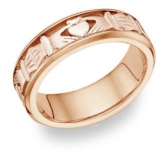 Celtic Claddagh Wedding Band Ring - 14K Rose Gold