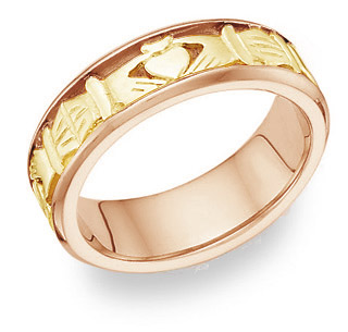 Celtic Claddagh Wedding Band Ring - 14K Two-Tone Gold