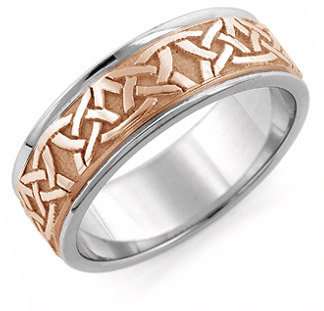 Aidan Celtic Wedding Band Ring, 14K White and Rose Gold