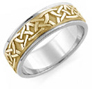 14k two tone gold Celtic wedding band