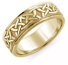 Aidan Celtic Wedding Band Ring, 14K Yellow Gold