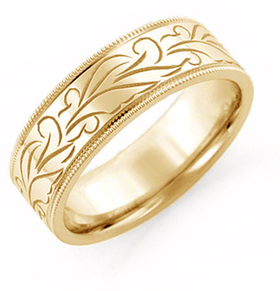 Hand Carved Floral Wedding Band, 14KYellow Gold