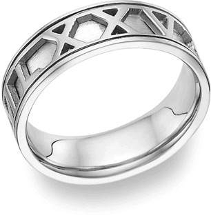 Personalized Roman Numeral Wedding Band Ring, 14K White Gold