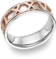 Personalized Roman Numeral Wedding Band, 14K White and Rose Gold