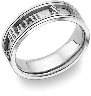Personalized Old English Wedding Band Ring - 14K White Gold