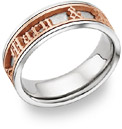 Personalized Old English Wedding Band Ring - 14K White and Rose Gold
