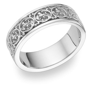 Celtic Design Ring - 14K White Gold