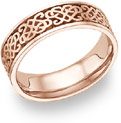 Celtic Heart Knot Wedding Band Ring, 14K Rose Gold