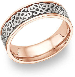 Celtic Heart Knot Wedding Band Ring, 14K Rose Gold and White Gold