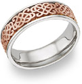 Celtic Heart Knot Wedding Band Ring, 14K White Gold and Rose Gold