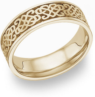 Celtic Heart Knot Wedding Band Ring, 14K Yellow Gold