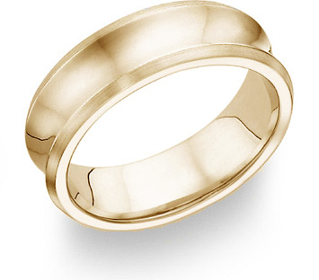 14K Yellow Gold Concave Wedding Band