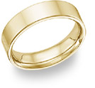 18K Yellow Gold Flat Wedding Band Ring - 6mm