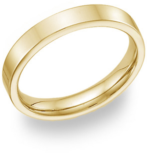14K Yellow  Gold Flat Wedding Band Ring - 4mm