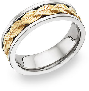 14K Two-Tone Wreath Design Wedding Band
