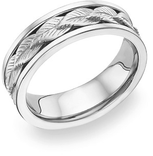 18K White Gold Wreath Design Wedding Band Ring