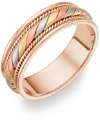 Designer Wedding Band in 18K Tri-Color Gold
