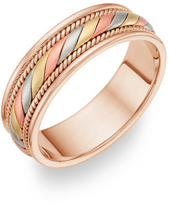 14K Tri-Color Gold Design Wedding Band Ring