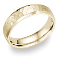 14K Yellow Gold Hammered Wedding Band Ring