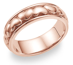 14K Rose Gold Eternal Heart Wedding Band Ring