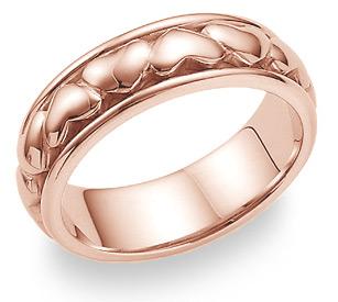 14K Rose Gold Eternal Heart Wedding Band Ring