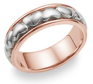 Eternal Heart Wedding Band Ring - 14K Rose and White Gold