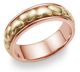 Eternal Heart Wedding Band Ring - 14K Rose and Yellow Gold