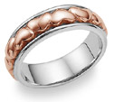Heart Wedding Band in 18K White and Rose Gold