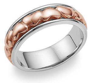 Eternal Heart Wedding Band Ring - 14K White and Rose Gold