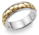 Heart Wedding Band Ring - 14K Two-Tone Gold