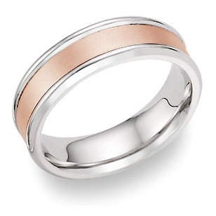 Plain Satin Wedding Band in 18K White and Rose Gold (Wedding Rings, Apples of Gold)
