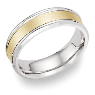 14K Two-Tone Gold Wedding Band with Brushed Center
